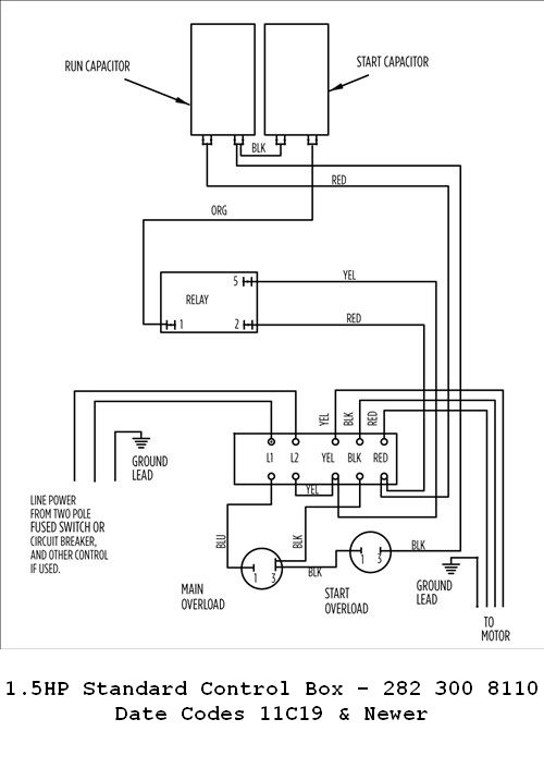 1 1 2 or 1hp 230v standard control box w overload  franklin electric control box wiring diagram #7