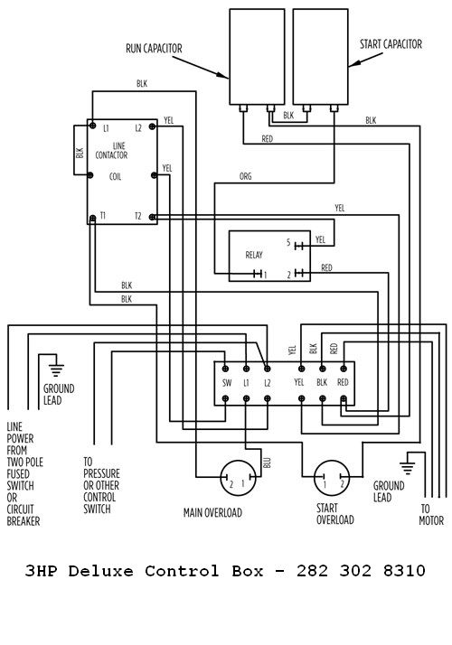 Franklin Electric 3hp 230v Deluxe Control Box Marathon 3/4 Hp Motor Wiring Diagram 3 Hp Motor Wiring Diagram