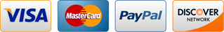 We accept Visa, Discover, Mastercard, & PayPal